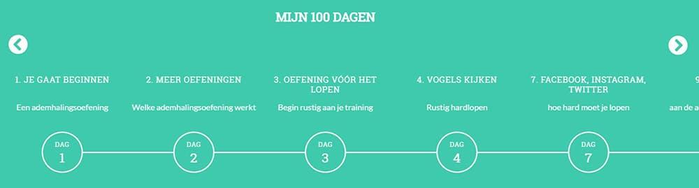Sporrusten Online Programma: Mijn 100 dagen - tijdlijn