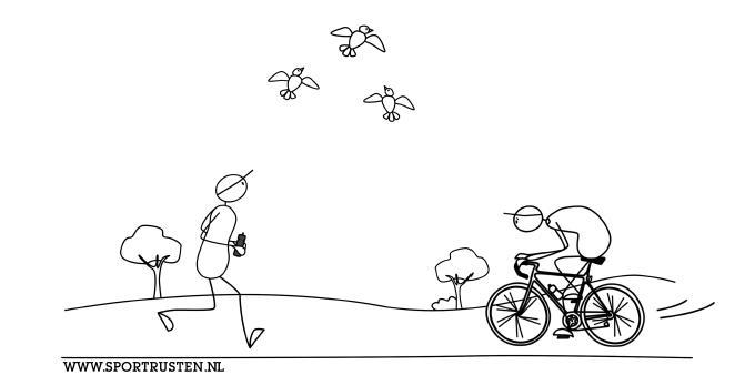 6. Vogels kijken wielrennen en hardloper